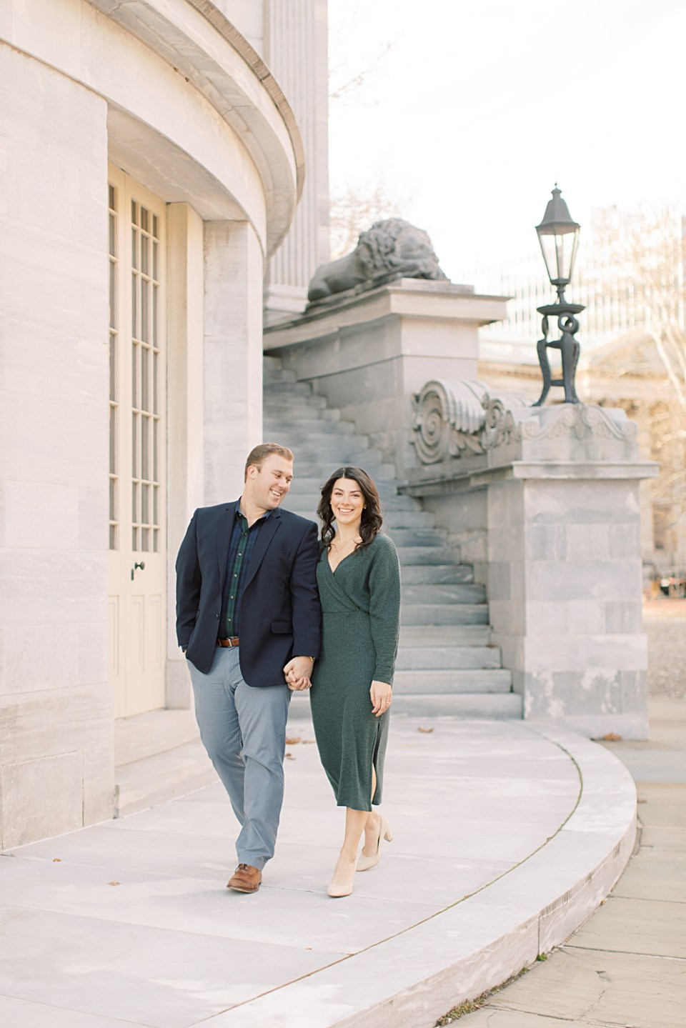 Engagement photos at Merchant's Exchange Building | Sarah Canning Photography