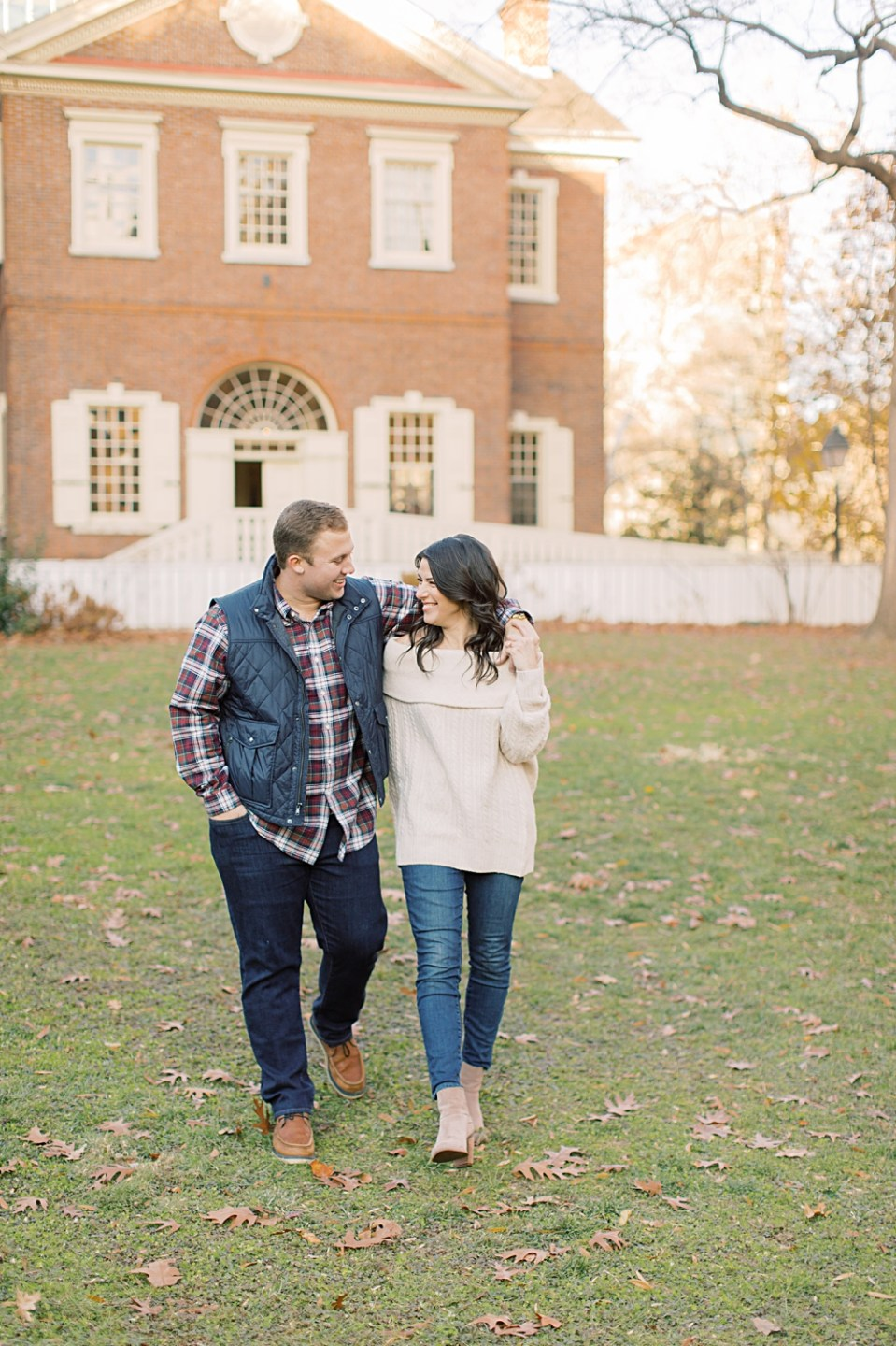 Couple walking in Philadelphia | Old City Engagement Session