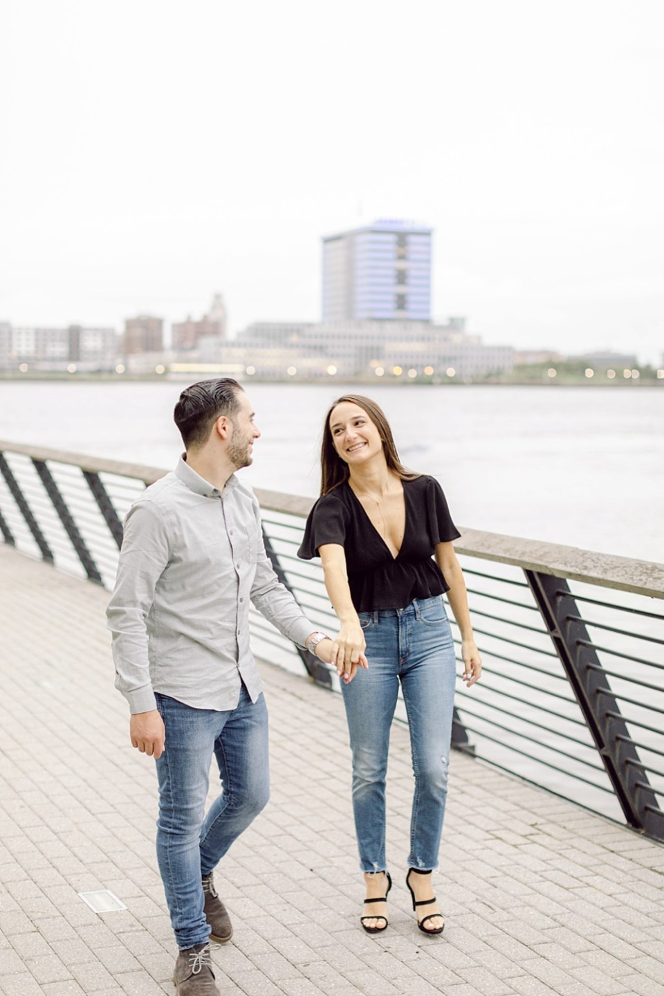Engagement Photos in Old City Philadelphia at Race Street Pier
