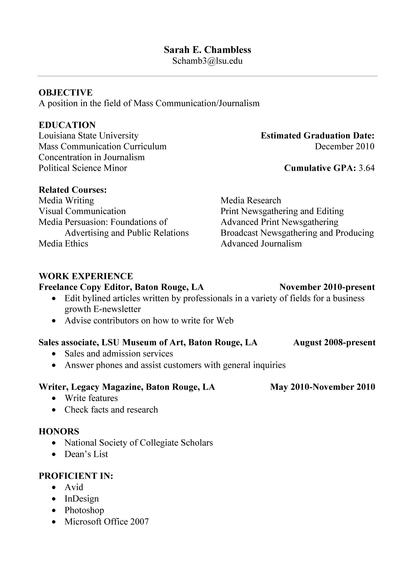 Current College Student Resume Template Résumé Sarah Chambless 39 Blog