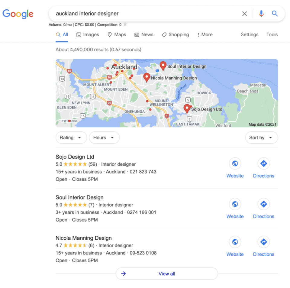 screenshot showing google my business listings in google local pack