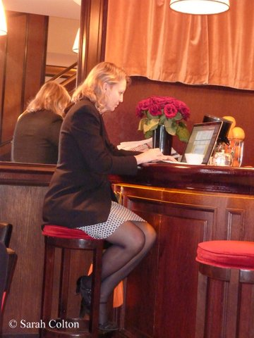 Before going to the Jovoy Press party I stopped in the Café Castiglione (around the corner from Jovoy), and happened to notice an elegant woman sitting at the bar, working on her computer. When I realized it was  Celine Verlure, I congratulated her on her Fifi award the night before for her niche brand, Olfactive Studio.  Céline said she had been at Jovoy most of the day, and was taking a break  to respond to some of the congratulatory  emails  on the Fifi win.