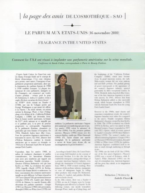 history of US Fragrances Osmotheque workshop