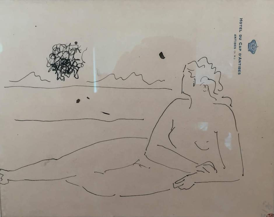 picasso-ink-drawing-woman-reclining-on-beach-hotel-cap-dantibes-formatted-for-website