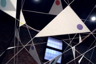 Perspectives, 2011, 106 x 160 x 160 cm, Iron, plexiglas, polyester thread, carbon fibers, color, software. © Photo Vjvisualoop