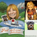 A dog lover, golf aficionado, and speedboat rider gets... a caricature for her birthday!
