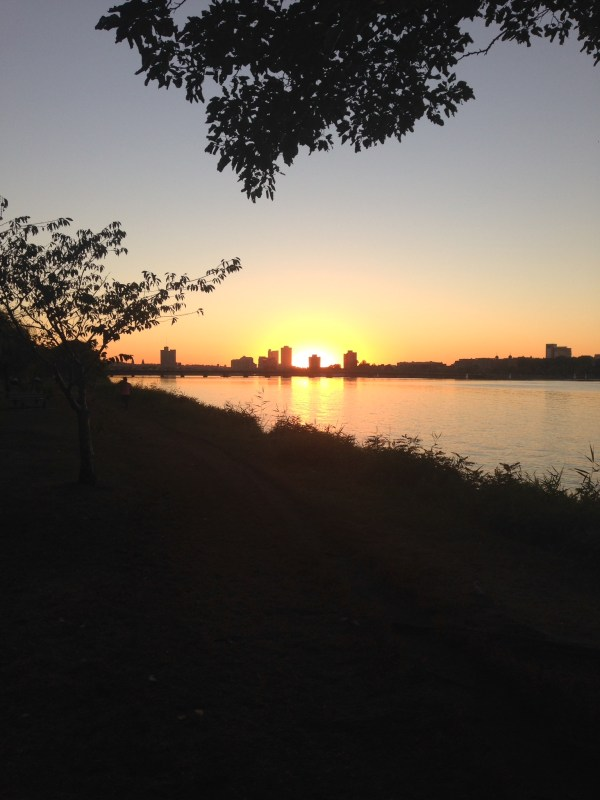 sunset boston river