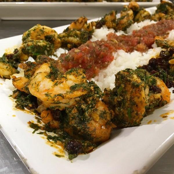 just add cooking seared prawns