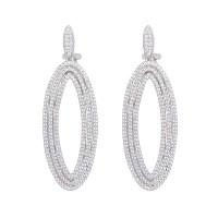 Oval Silver Drop Earrings - SarahGargash