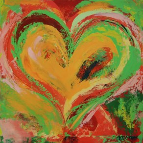 Red Hearts Orange SOLD