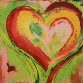 Orange Hearts Red SOLD