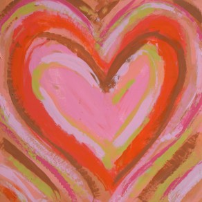 "Coral Heart 12""x12"" SOLD"