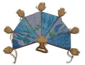 The blue side of a reversible fan