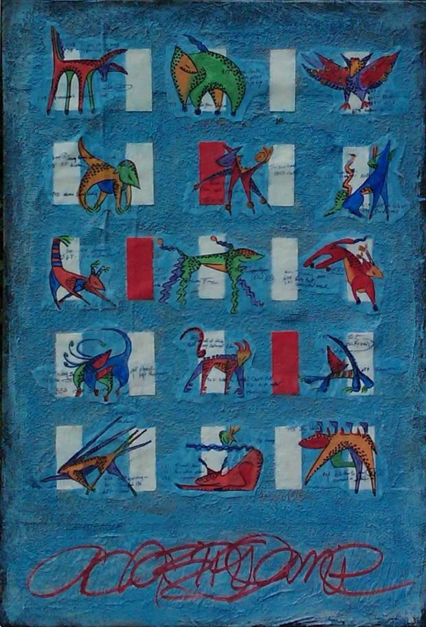 Blue Animals Painting by Sarah Gilbert Fox