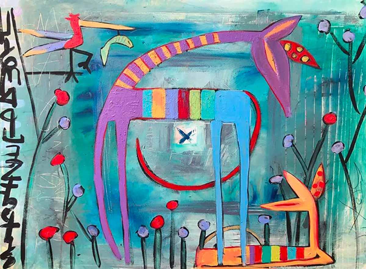 Painting: Giraffes in the Bird Garden