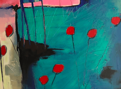 details of red flowers in the birds in the birdie garden - an  contemporary abstract figurative expressionism fine art  a painting by emerging artist sarah gilbert fox