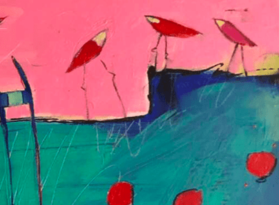 details of the birds in the birdie garden - an  contemporary abstract figurative expressionism fine art  a painting by emerging artist sarah gilbert fox