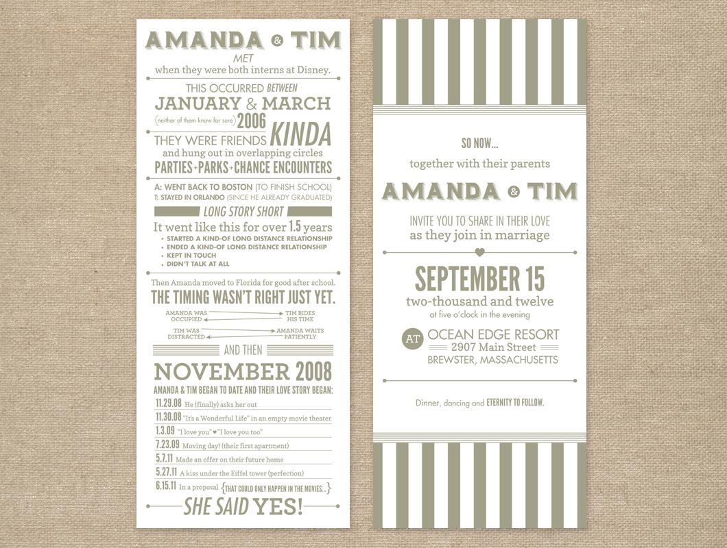 Typographic gray and white wedding invitation - Sarah Hearts