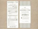 Typographic gray and white wedding invitation