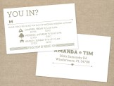 Typographic gray and white wedding RSVP card