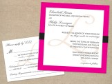 Black and pink formal wedding invitation and RSVP card