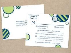 Navy and lime modern wedding RSVP postcard