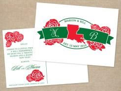 State monogram holiday postcard