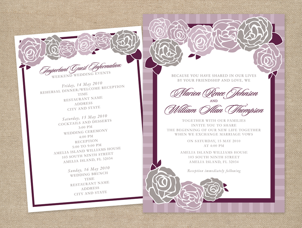Purple and gray rose wedding invitation and information card - Sarah ...