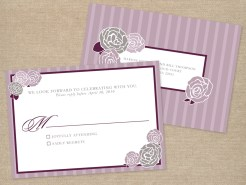 Purple and gray rose wedding RSVP postcard