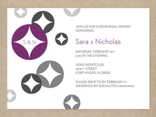 Retro modern purple and gray rehearsal dinner invitation