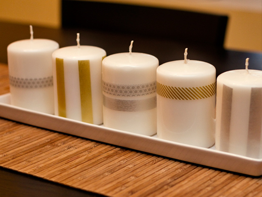 washi tape candles diy gift
