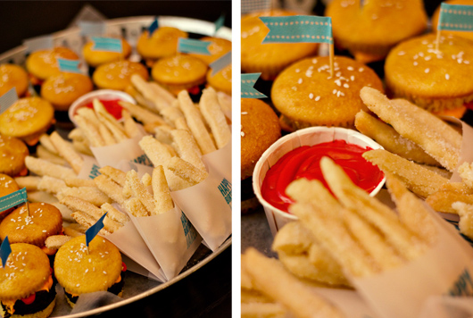 hamburger cupcakes cookie french fries