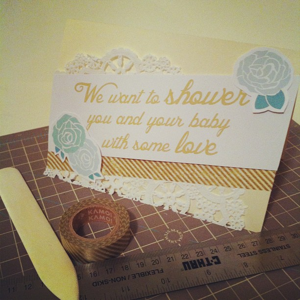 handmade washi tape baby shower card