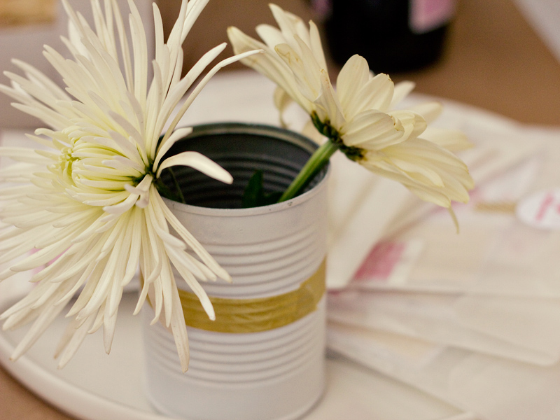 washi tape metal can flower vases