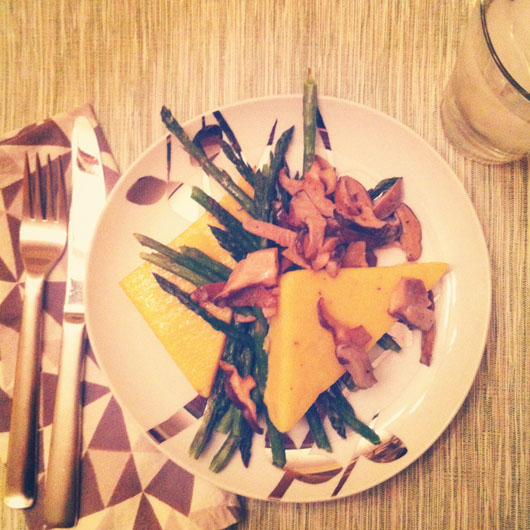 creamy polenta cakes with mushrooms and asparagus