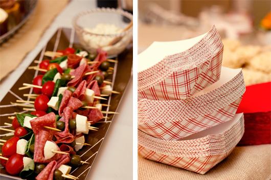 antipasto skewers red plaid food baskets