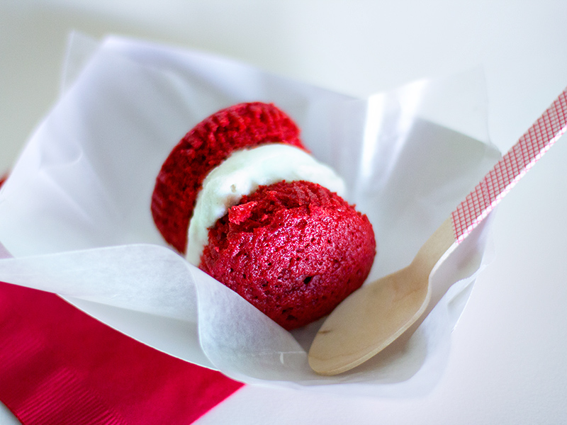 Red Velvet Cupcake Ice Cream Sandwich