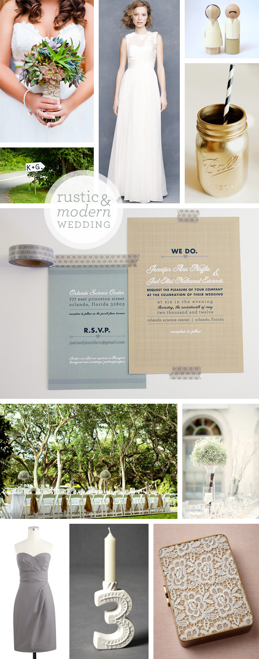 rustic modern wedding invitations