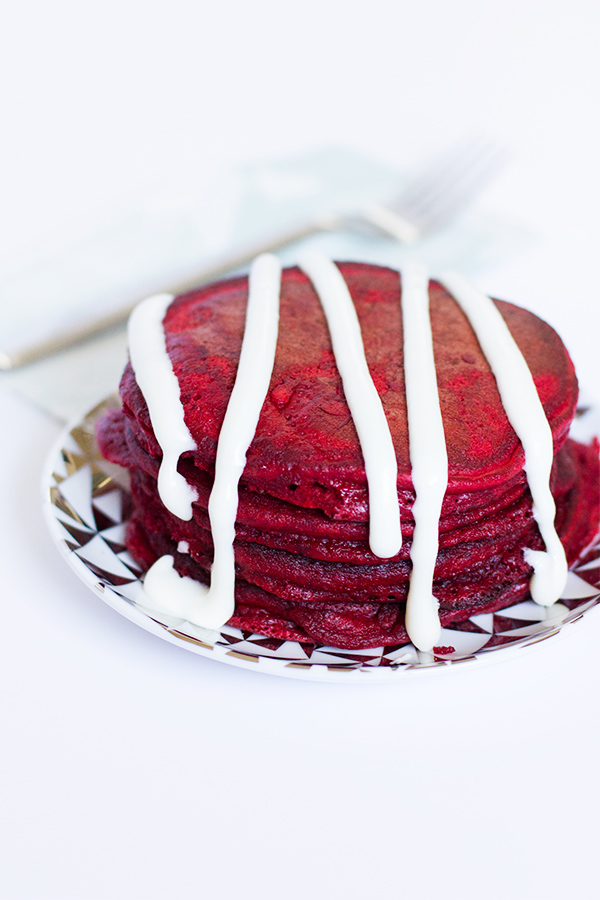 Red Velvet Pancakes with Cream Cheese Drizzle from sarahhearts.com
