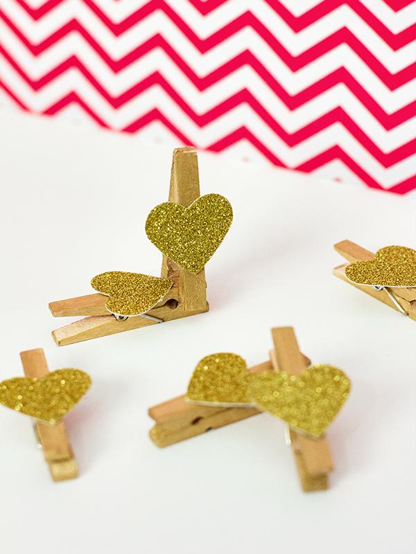 DIY Glitter Heart Clothes Pins by Sarah Hearts