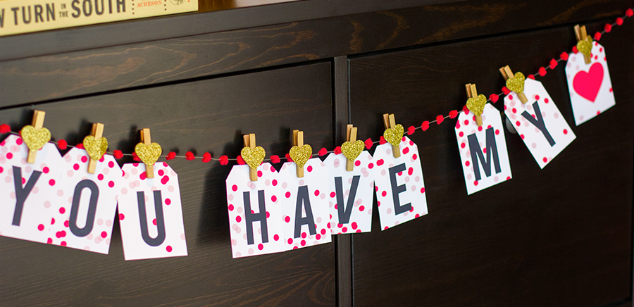 Printable Valentine's Day Garland from Sarah Hearts