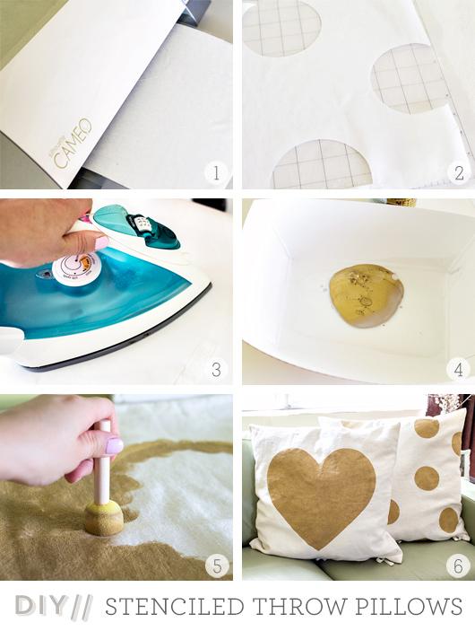 Sarah Hearts   DIY Freezer Paper Stenciled Throw Pillows