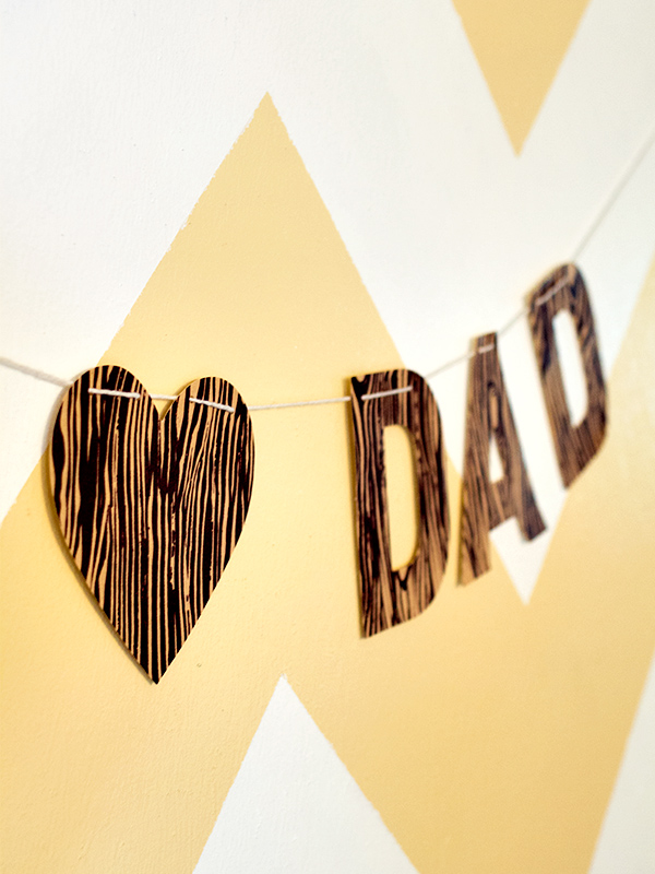 DIY Faux Bois Father's Day Banner | Sarah Hearts