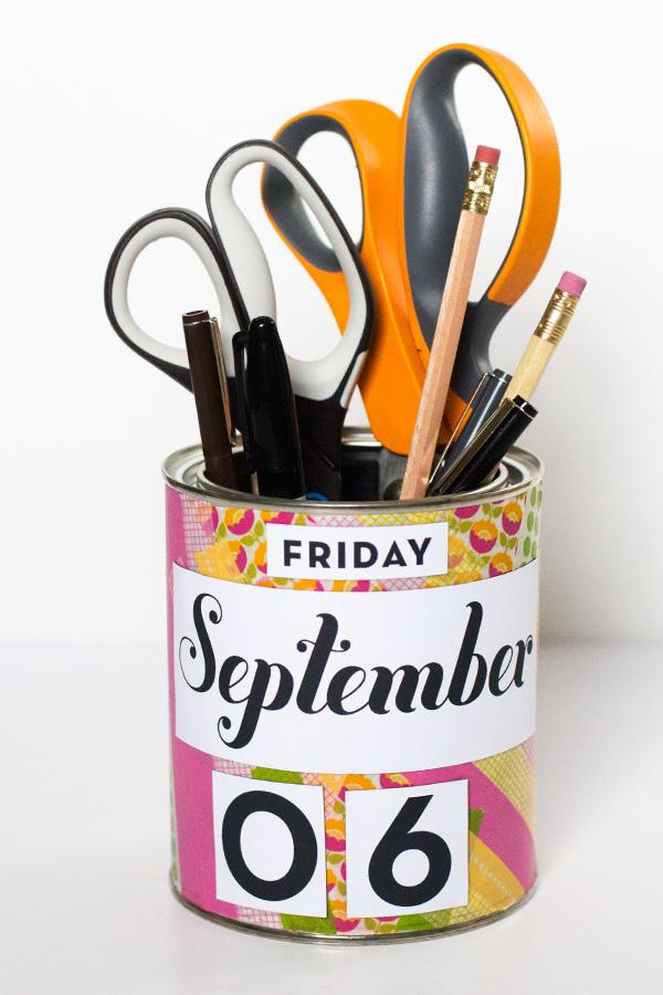 DIY Calendar Pencil Cup | Sarah Hearts