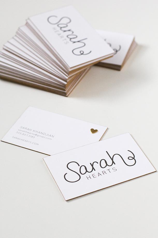 DIY Gold Edge Business Cards - Sarah Hearts
