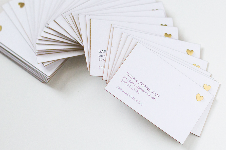 DIY Gold Edge Business Cards | Sarah Hearts