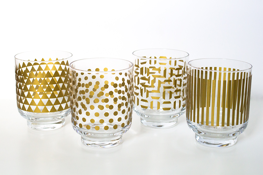 DIY Metallic Print Glassware   Sarah Hearts