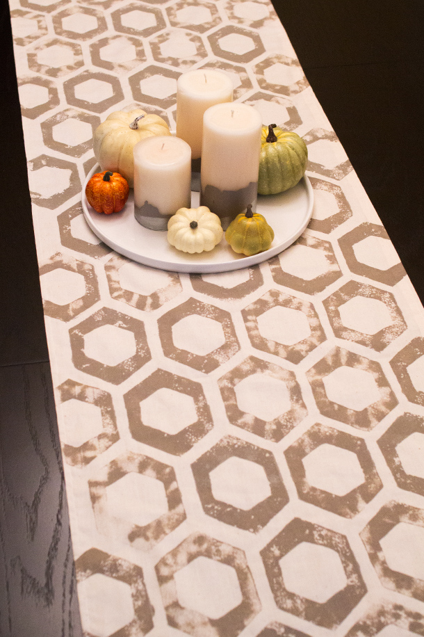 Bon DIY Sponge Stamped Fall Table Runner