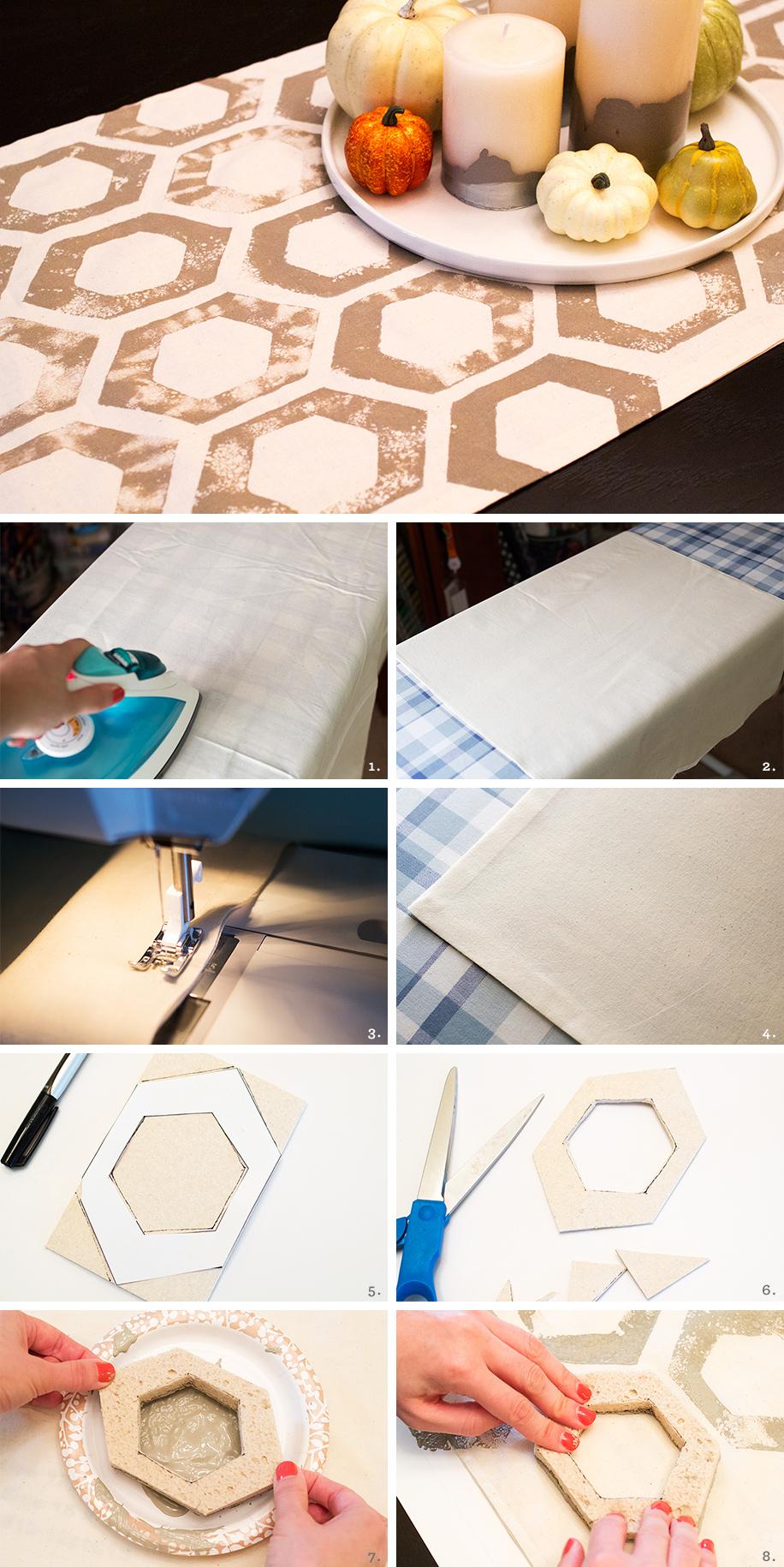 DIY Sponge Stamped Fall Table Runner | Sarah Hearts