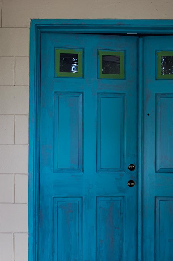 Teal Painted Front Door | Sarah Hearts